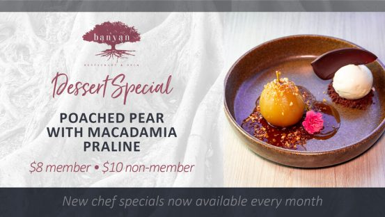 Poached Pear with Macadamia Praline